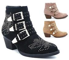 Ladies Womens Low Flat Heel Western Cowboy Biker Buckle Ankle Boots Shoes Size