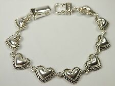 Puffy Heart Filigree Swirl Silvertone Link Magnetic Bracelet