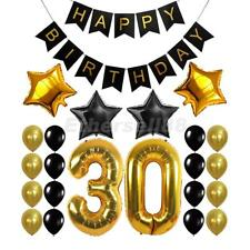 Happy Birthday Banner 30th 40th 50th 60th Foil Balloons Party Decor Gold Black