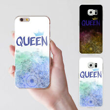 KQ_ Elegant Flower Crown Queen Letter Print Case Cover for iPhone Samsung S4 Eag