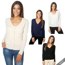 UK Womens Ladies Long Sleeve V Neck Sweater Jumper Cardigan Thin Knit Two Pocket