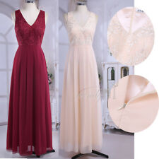 NEW Women's Lace Long Formal Wedding Evening Gown Party Prom Bridesmaid Dress UK