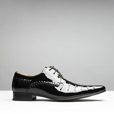 Mister Carlo PARIS Mens Faux Patent Leather Smart Derby Lace Up Shoes Black