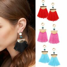 Boho Vintage Round Beaded Tassel Fringe Dangle Earrings Women Costume Jewelry