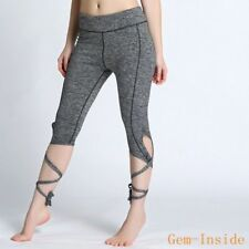 New Summer Womens Sport Yoga Stretch Running Gym Fitness Leggings Cropped  Pants