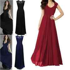 Womens Chiffon Lace Party Prom Ballgown Evening Cocktail Bridesmaid Formal Dress
