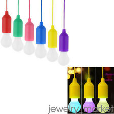 Portable LED Bulb Light On A Rope Reading Lamp Battery Operated Pull Cord