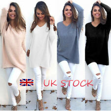 UK Ladies Autumn Knitting Long Tops Thin Sweater Oversized Jumpers Blouse 8-22