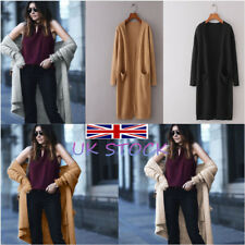 UK Women's Laides Long Sleeve Jumpers Cardigan With Pocket Knitted Sweater Coat