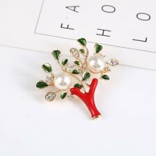 New Christmas Tree Elk Crystal Pearl Brooch Pin Xmas Jewelry Women Custome Gift