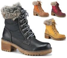 LADIES FAUX LEATHER FUR COLLAR HIKING LACE UP WINTER WOMENS ANKLE BOOTS SIZE 3-8