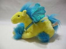 """Pegasus Plush Winged Horse Yellow Blue Stuffed Animal Alley Toy 11"""" Soft Cute"""