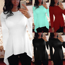 Womens Long Sleeve Solid Tunic Slim Fit Tops Irregular Hem Casual T-Shirt Tees
