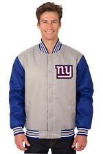 New York Giants NFL Poly Twill Jacket Gray Royal Embroidered Logos Licensed