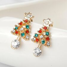 Charm Colorful Crystal Rhinestone Christmas Tree Ear Stud Earrings Jewelry Party