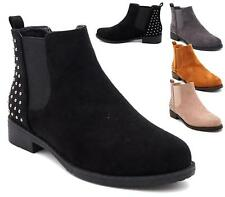 WOMENS FAUX SUEDE STUDS PULL ON ELASTIC GUSSET PIXIE CHELSEA ANKLE BOOTS SIZE 3-