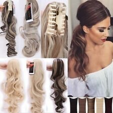 One Piece Clip In Real Thick Ponytail Hair Extensions Long Straight Wavy Curly L