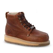 """Mens Light Brown 6"""" Mocc Toe Leather WP Work Boots BONANZA 612 Size 6-12 (D, M)"""