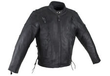 Faux Leather Motorcycle Cafe Racer Jacket Vents Zip-Out Liner Euro Collar Laces