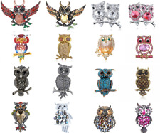 Vintage Red Crystal Rhinestone Hooting Tree Owl Style Silver Plated Brooch Pin