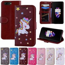 Patterned Cute Unicorn Leather Card Holder Wallet Flip Cover Case For OnePlus 5