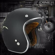 Torc Route 66 T50 Flat Black Bullhead 3/4 Open Face Motorcycle Scooter Helmet