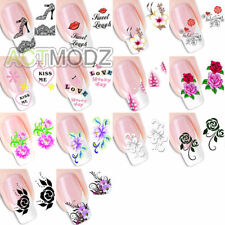 16 PCS DIY Cute Flower Water Transfer Nail Stickers Decals Art Tips Decoration