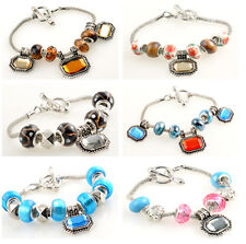 Stylish Lampwork Glass Gemstone Silver European Beaded Charm Clasp Bracelet A