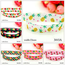 "7/8"" 22mm Pineapple Watermelon Design Grosgrain Ribbon Craft Bow 5 10 Yards"
