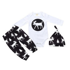 Newborn Toddler Baby Boy Girl Romper Tops +Pants+hat 3Pcs Outfits Set Clothes
