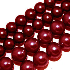 GLASS PEARLS JEWELRY BEADS DARK RED 4MM 6MM FAUX PEARL BEAD STRAND GP31
