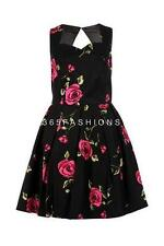 SAMYA PLUS SIZE SWEETHEART VINTAGE ROSE PRINT SKATER PROM DRESS BLACK