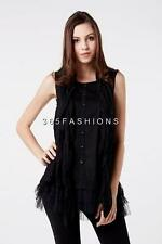 STELLA MORGAN EIGHTIES STYLE SCARF LACE FRILL TIERED HEM BUTTON DETAIL TOP BLACK