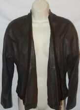 BCBG Max Azria Women's Jacket Leather Open Front Brown Sz Medium FREE SHIPPING!