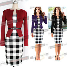 Office Lady Slim Fitness Pencil Fake 2Pcs Bodycon Dress Cocktail Party Dress