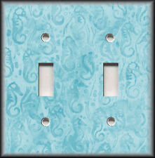 Metal Light Switch Plate Cover Seahorse Pattern Beach Coastal Decor Light Blue