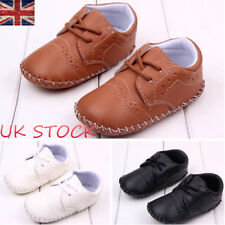 UK Toddler Baby Boys Laces Trainers PU Leather Walking Sneaker Crib Shoes 0-18 M