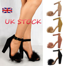 UK Women Ankle Straps Ladies Fur Strappy Block High Heels Peep Toe Sandals Shoes