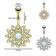 Fashion Crystal Rhinestone Belly Button Ring Petal Gem Belly Button Ring Jewelry