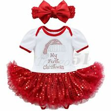 Baby Girls Infant Christmas Santa Outfits Tutu Dress Romper With Headband Outfit