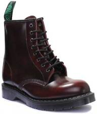 Solovair Burgundy Rub Off 8 Eye Derby Boot Made in England Size UK 4 - 12