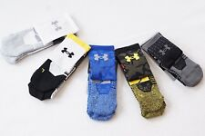 UA Under Armour Adult Basketball Crew Socks NWT SC30 Drive M L White Black Blue
