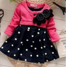 Baby Girls Toddler Newborn Polka Dot Casual Party winter autumn Dress Cardigan