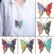 Charm Printing Flower Butterfly Sweater Chain Charm Pendant Necklace Jewelry
