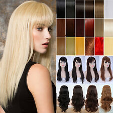 Full Wig With Bangs Heat Resistant Synthetic Hair Ombre Two Tone Costume Wigs g6