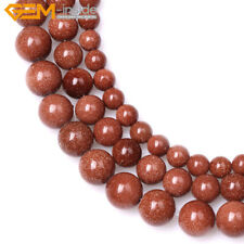 """Round Brown Gold Sandstone Beads for DIY Jewelry Making Strand 15"""" Wholesale"""