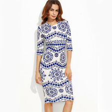 Women's Stunning New Blue White Aztec Size 10,12,14,16,18 Stretch Pencil Dress