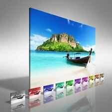 Tropical Island Boat Canvas Print Large Picture Wall Print