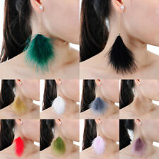 Fashion Jewelry Elegant Fluffy Plush Fur Feather Chain Link Dangle Stud Earrings