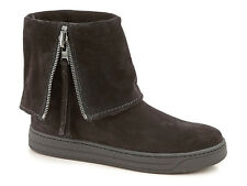 Prada Sport flat ankle boots in black Suede leather with zip closure